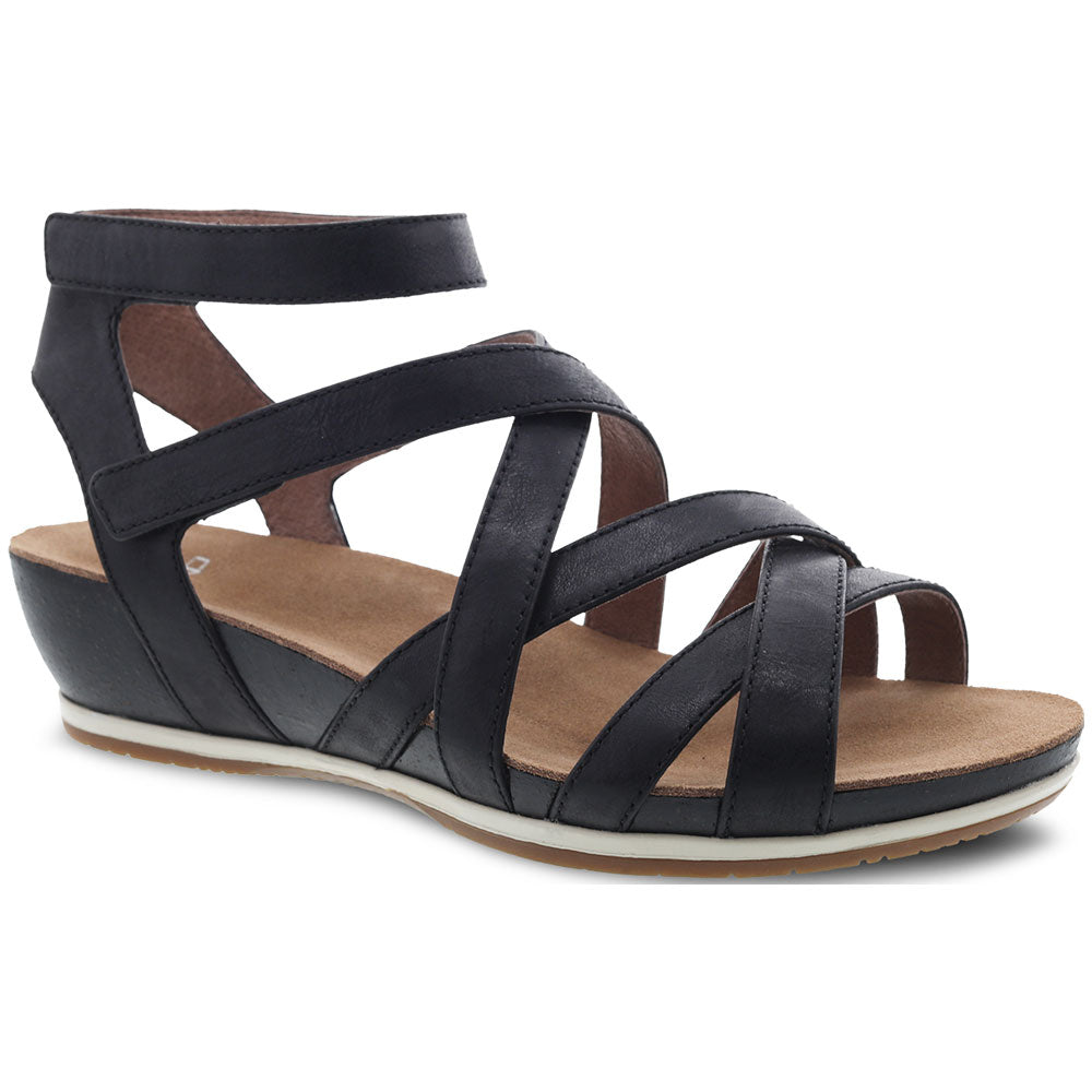 Veruca Sandal in Black Waxy Burnished Leather