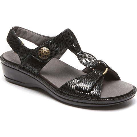 Aravon Collette Sandal in Black Print at Mar-Lou Shoes