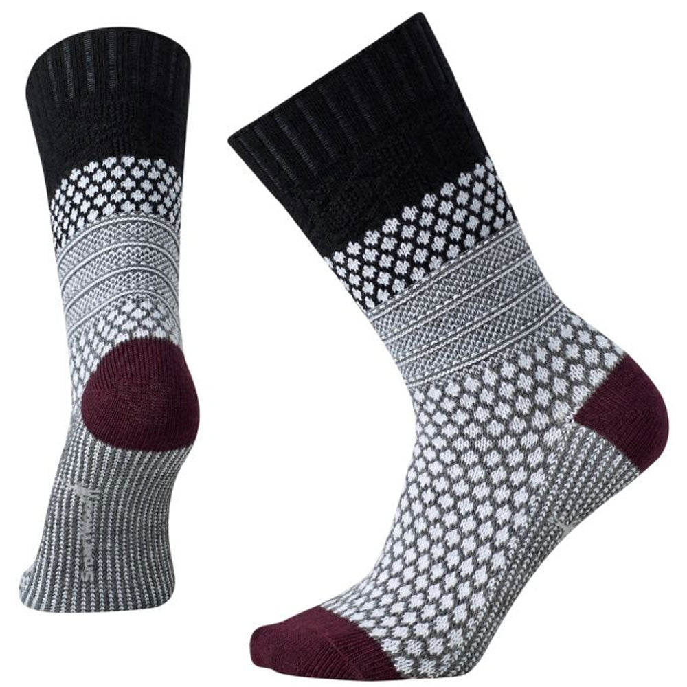 Women's Popcorn Cable Crew Socks in Black
