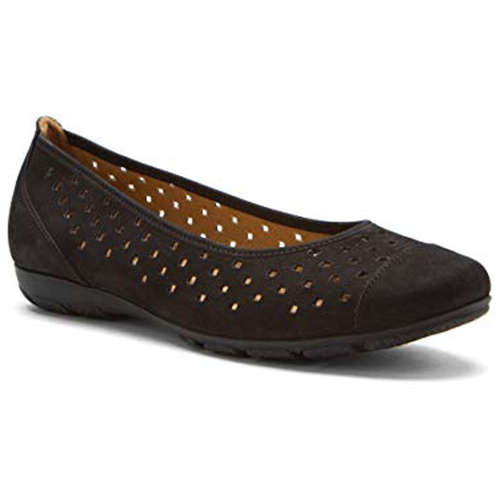 958cadb853228 Ballet Flat in Perforated Black Nubuck Found at Mar-Lou Shoes in ...