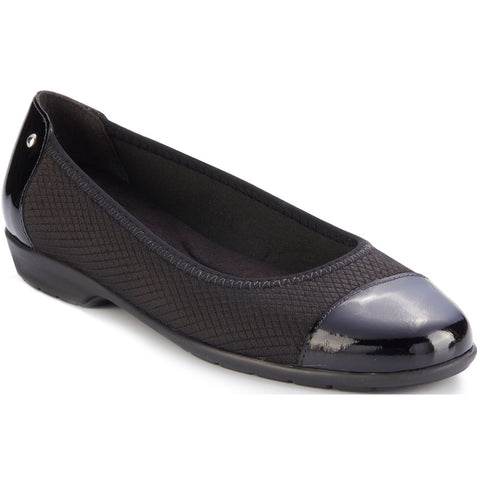 Walking Cradles Felicity in Black Stretch Fabric/Black Leather at Mar-Lou Shoes