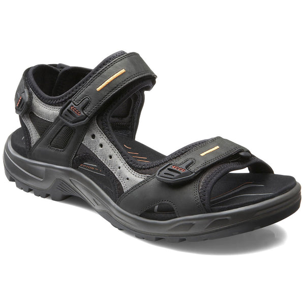 ECCO Men's Yucatan Sandal in Black/Mole Leather at Mar-Lou Shoes