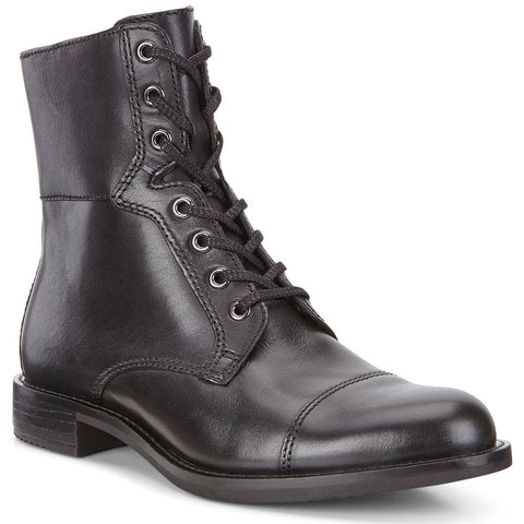 ECCO Sartorelle 25 Combat Boot in Black Leather at Mar-Lou Shoes