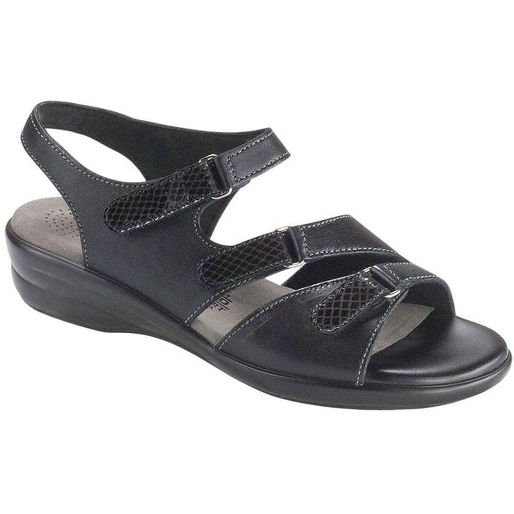 SAS Tabby Sandal in Black Leather at Mar-Lou Shoes