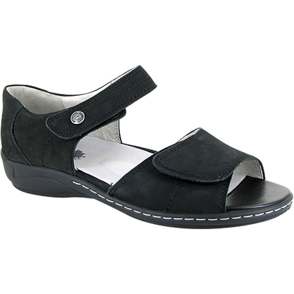 Waldlaufer Hilena Sandal in Black Nubuck at Mar-Lou Shoes