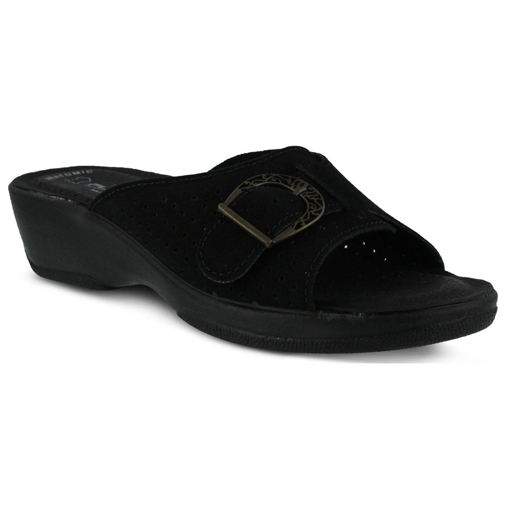 Edella Sandal in Black Nubuck
