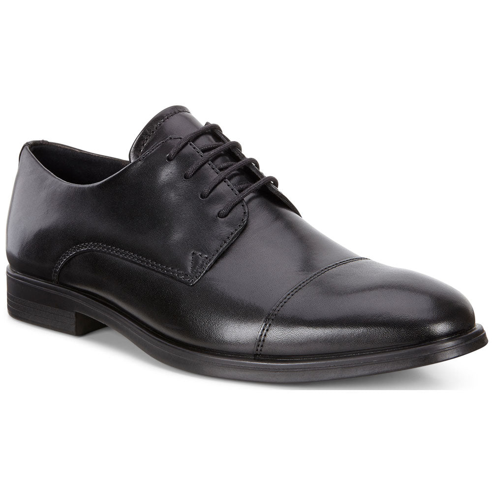 ECCO Melbourne Cap Toe Tie in Black Leather at Mar-Lou Shoes