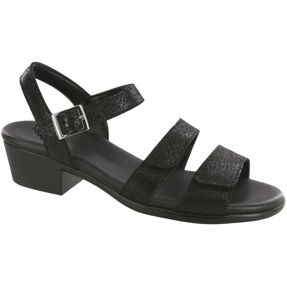 SAS Savanna Sandal in Web Black Leather at Mar-Lou Shoes