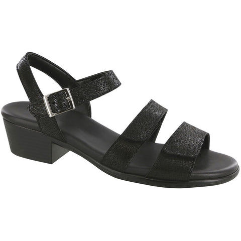 Savanna Sandal in Black Web Leather