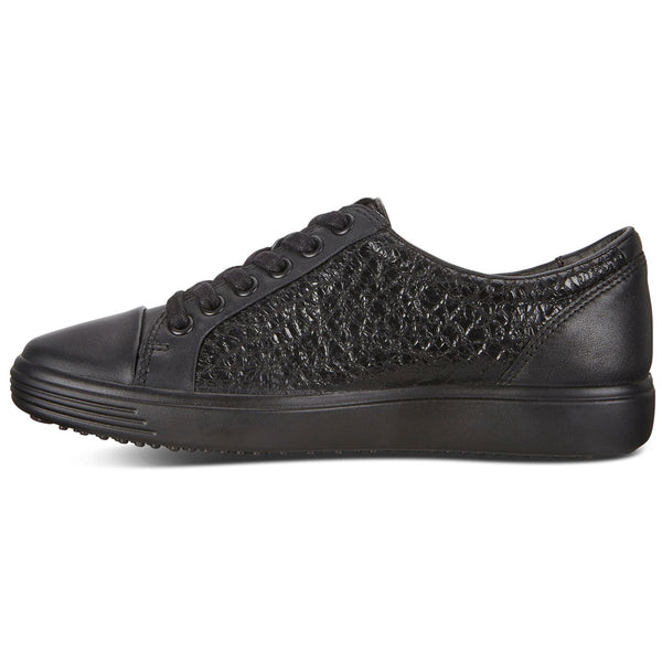 ECCO W Soft 7 Lace in Black Leather at Mar-Lou Shoes