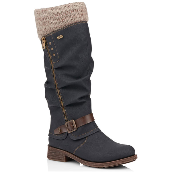 Remonte D8076 Water-Resistant Boot in Black/Stone at Mar-Lou Shoes