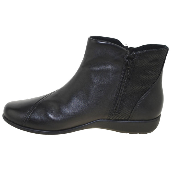 Aravon Anstice Bootie in Black Leather at Mar-Lou Shoes