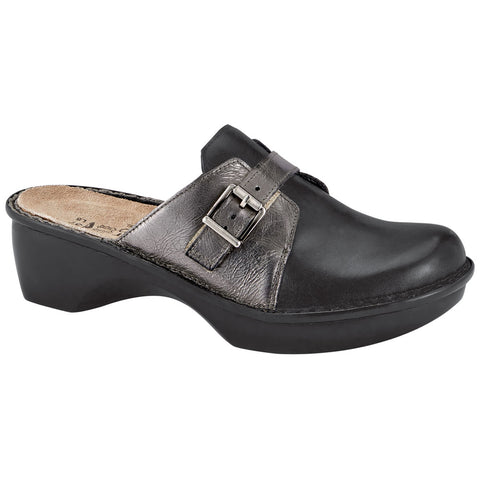 Naot Avignon Clog in Jet Black/Crinkle Steel Leather at Mar-Lou Shoes