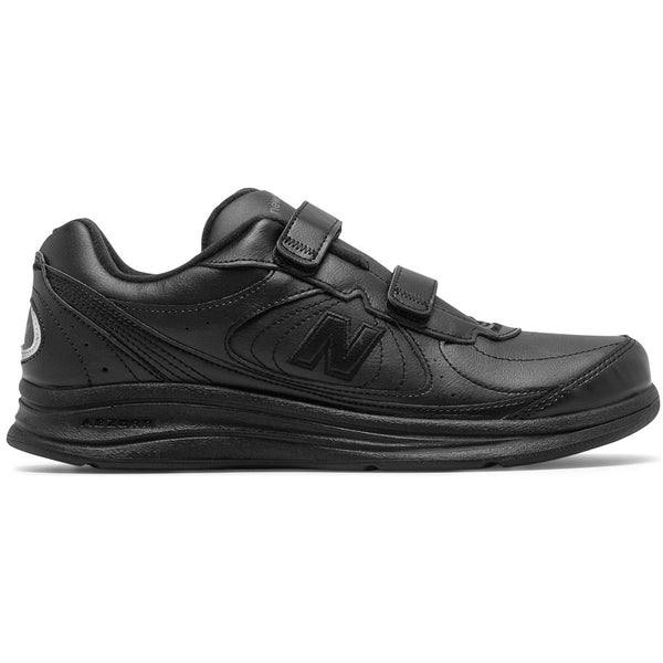 New Balance Men's 577 Hook and Loop in Black Leather at Mar-Lou Shoes