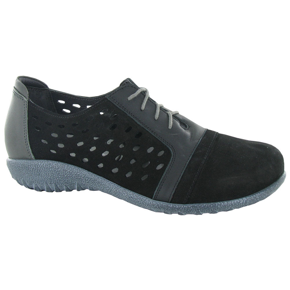 Naot Lalo in Black Nubick at Mar-Lou Shoes