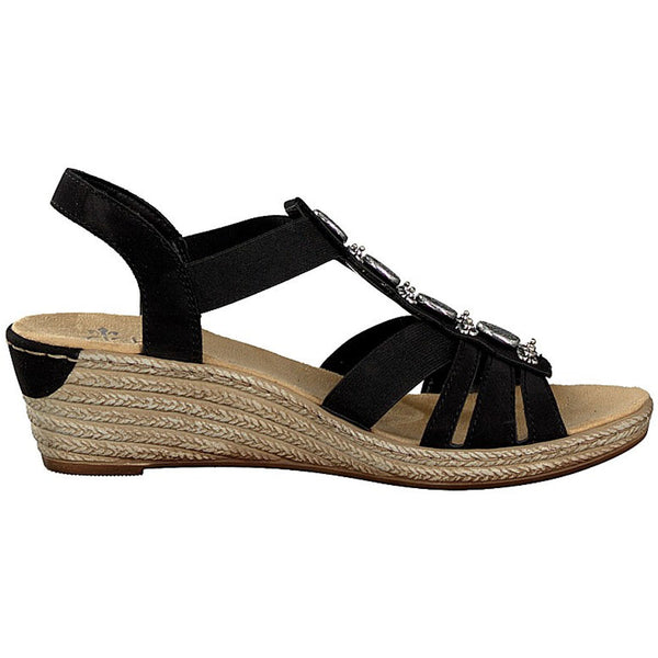 Rieker 624B4 Sandal in Black Leather at Mar-Lou Shoes