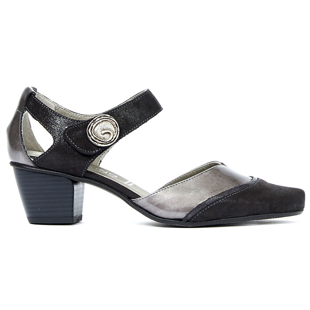 Triana 6729 Heel in Black Metallic Leather