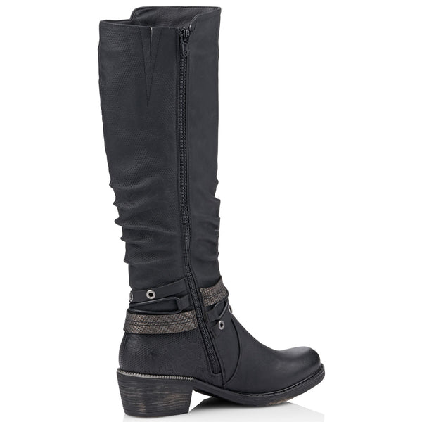 Remonte R1770 Water-Resistant Boot in Black Leather at Mar-Lou Shoes