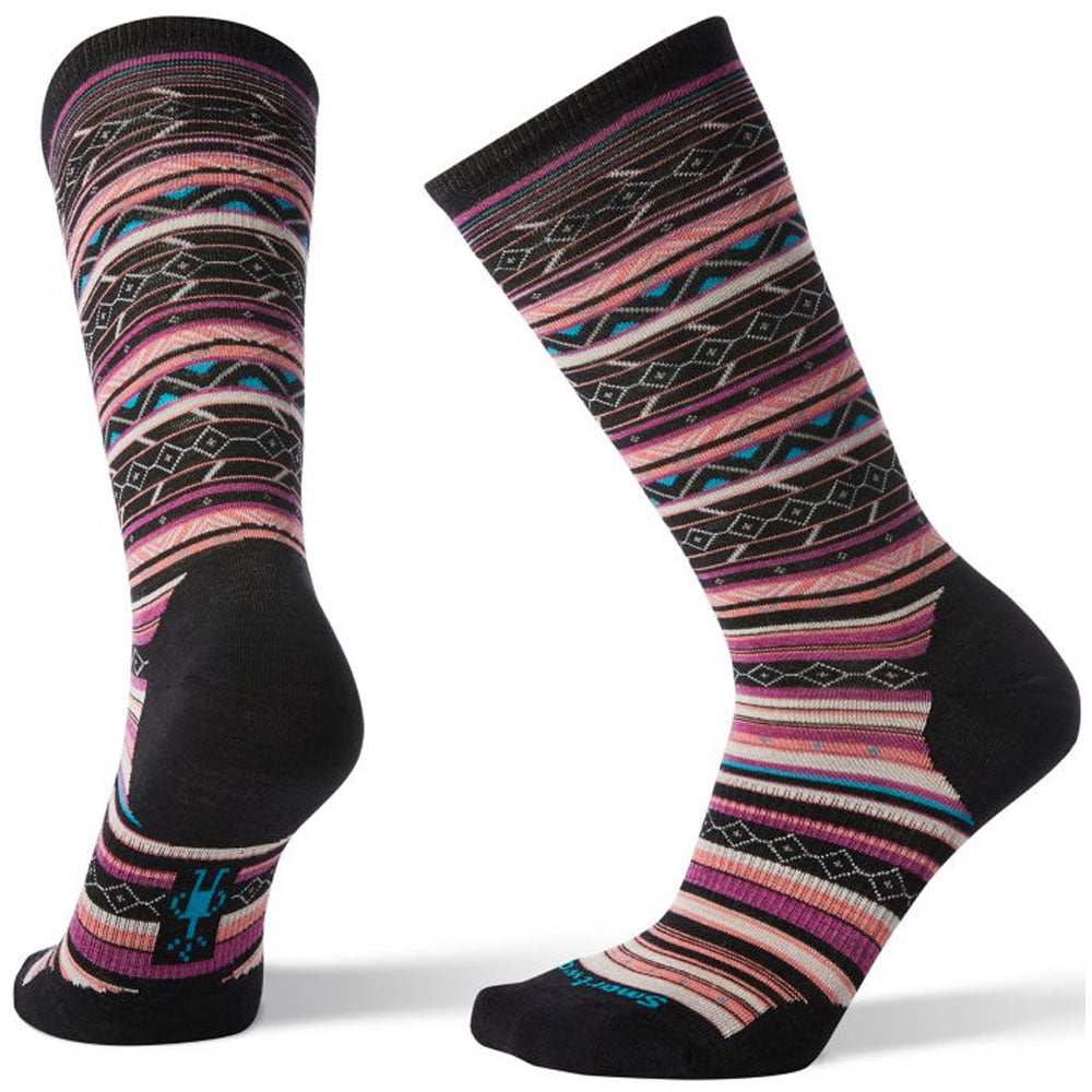 Smartwool Women's Ethno Graphic Crew Socks in Black Mauve at Mar-Lou Shoes