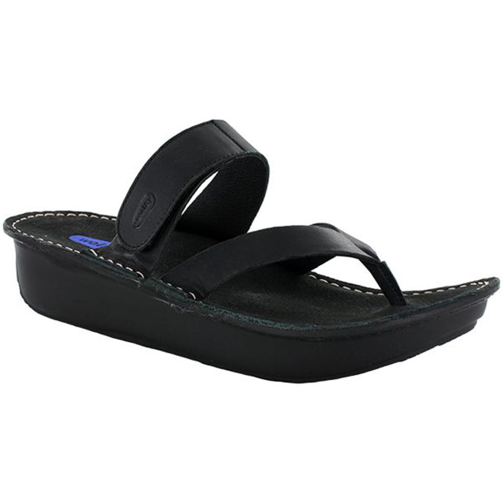 Tahiti Sandal in Black Mighty Leather