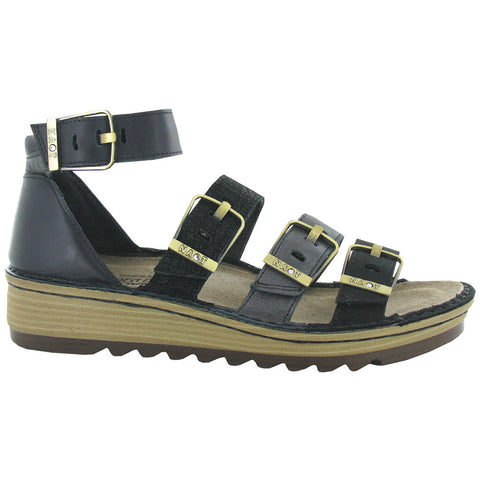 Begonia Sandal in Black Velvet Nubuck/Metallic/Leather Combi