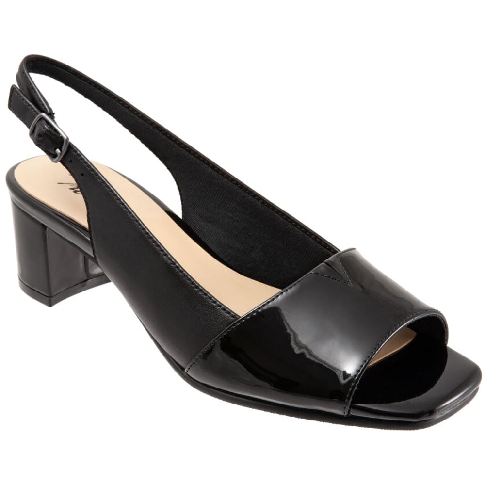 Trotters Monique Slingback Heel in Black Patent at Mar-Lou Shoes