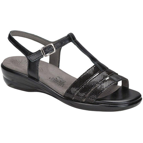 SAS Capri Sandal in Black Snake at Mar-Lou Shoes