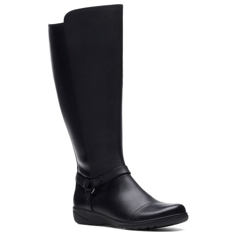 Clarks Cheyn Lindie Wide-Shaft Boot in Black Leather at Mar-Lou Shoes
