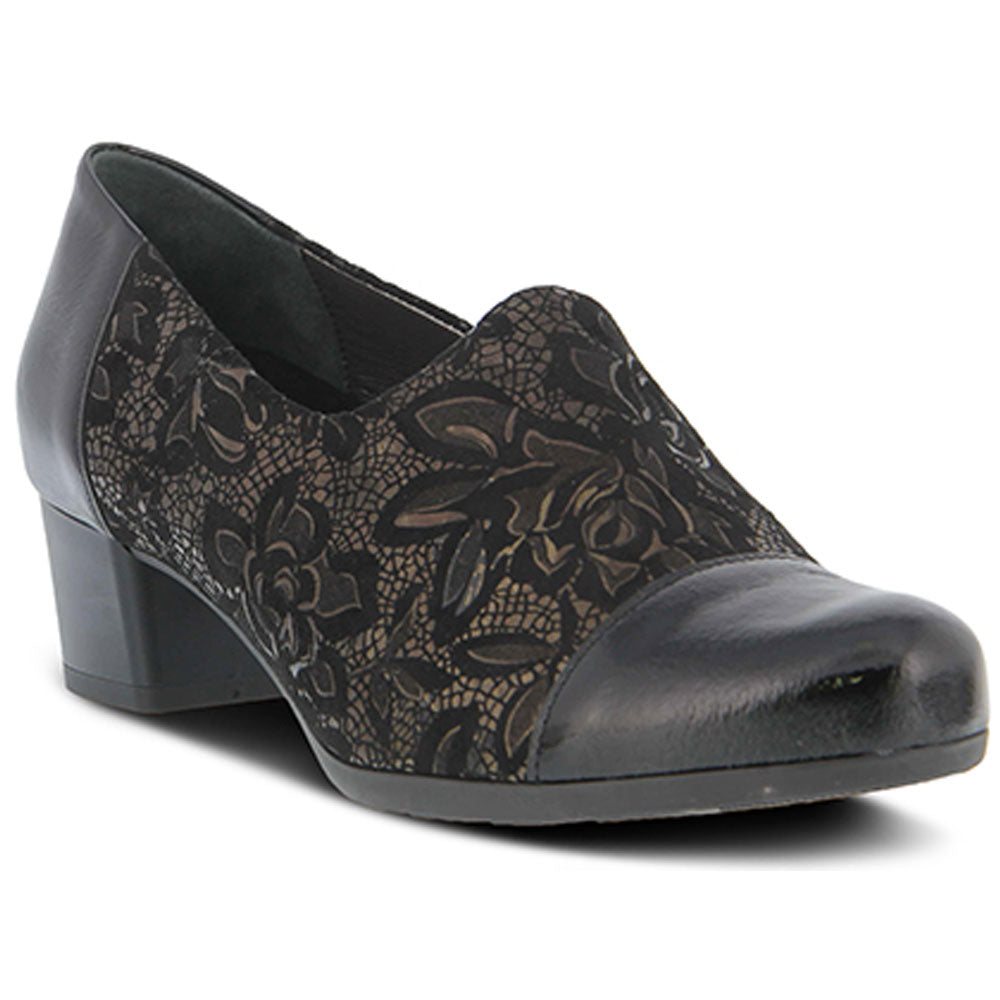 Spring Step Evlynnette Heel in Black Patent Multi Leather at Mar-Lou Shoes