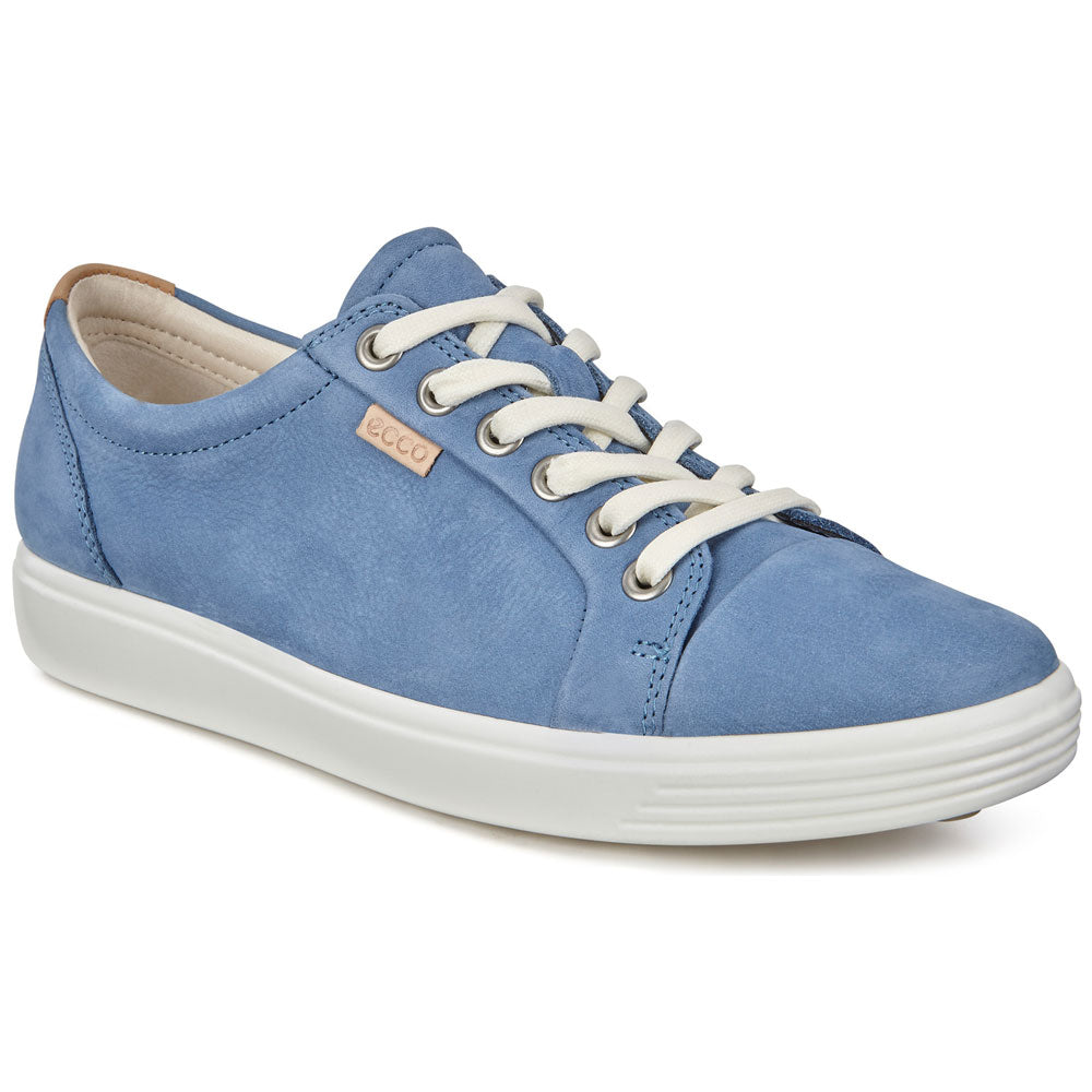 ECCO Women's Soft 7 Sneaker in Retro Blue Suede at Mar-Lou Shoes