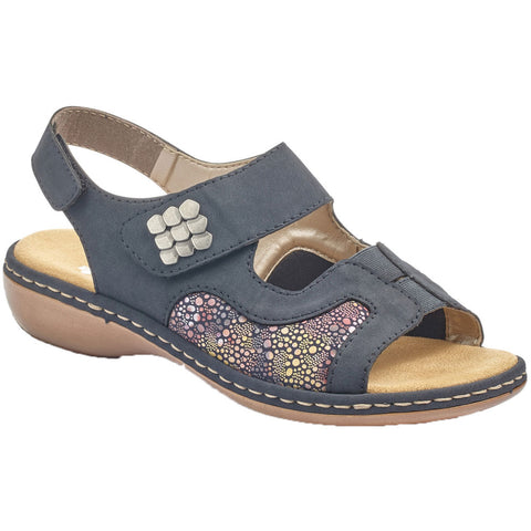 Rieker 65989 Sandal in Navy Multi at Mar-Lou Shoes