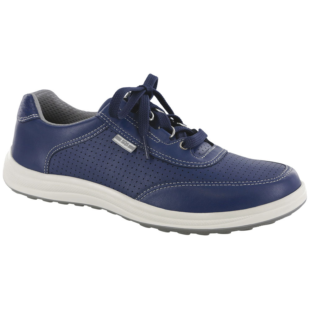 SAS Sporty Lux in Blue Perf Leather at Mar-Lou Shoes