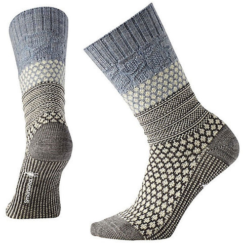 Popcorn Cable Crew Socks in Blue Ice Heather