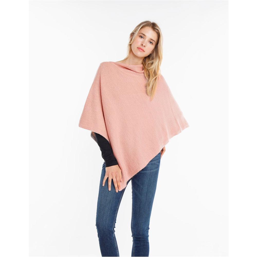 Look by M Basic Cashmere Blend Poncho in Blush at Mar-Lou Shoes