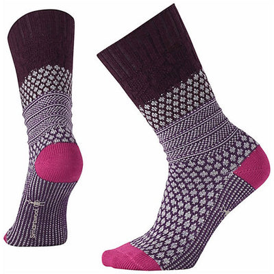 Popcorn Cable Crew Socks in Bordeaux