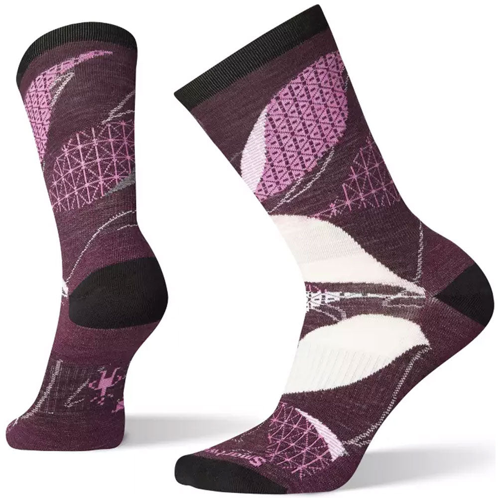 Smartwool Women's Kimono Leaf Crew Socks in Bordeaux at Mar-Lou Shoes