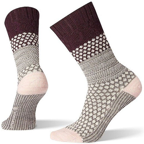 ECCO Women's Popcorn Cable Crew Socks in Bordeaux at Mar-Lou Shoes