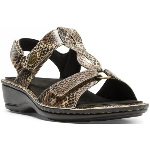 Aravon Collette Sandal in Brown Print at Mar-Lou Shoes