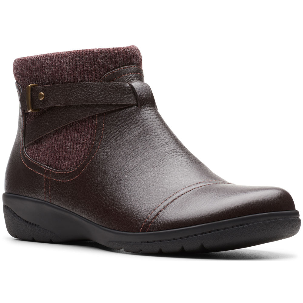 Clarks Cheyn Kisha Bootie in Dark Brown Leather at Mar-Lou Shoes