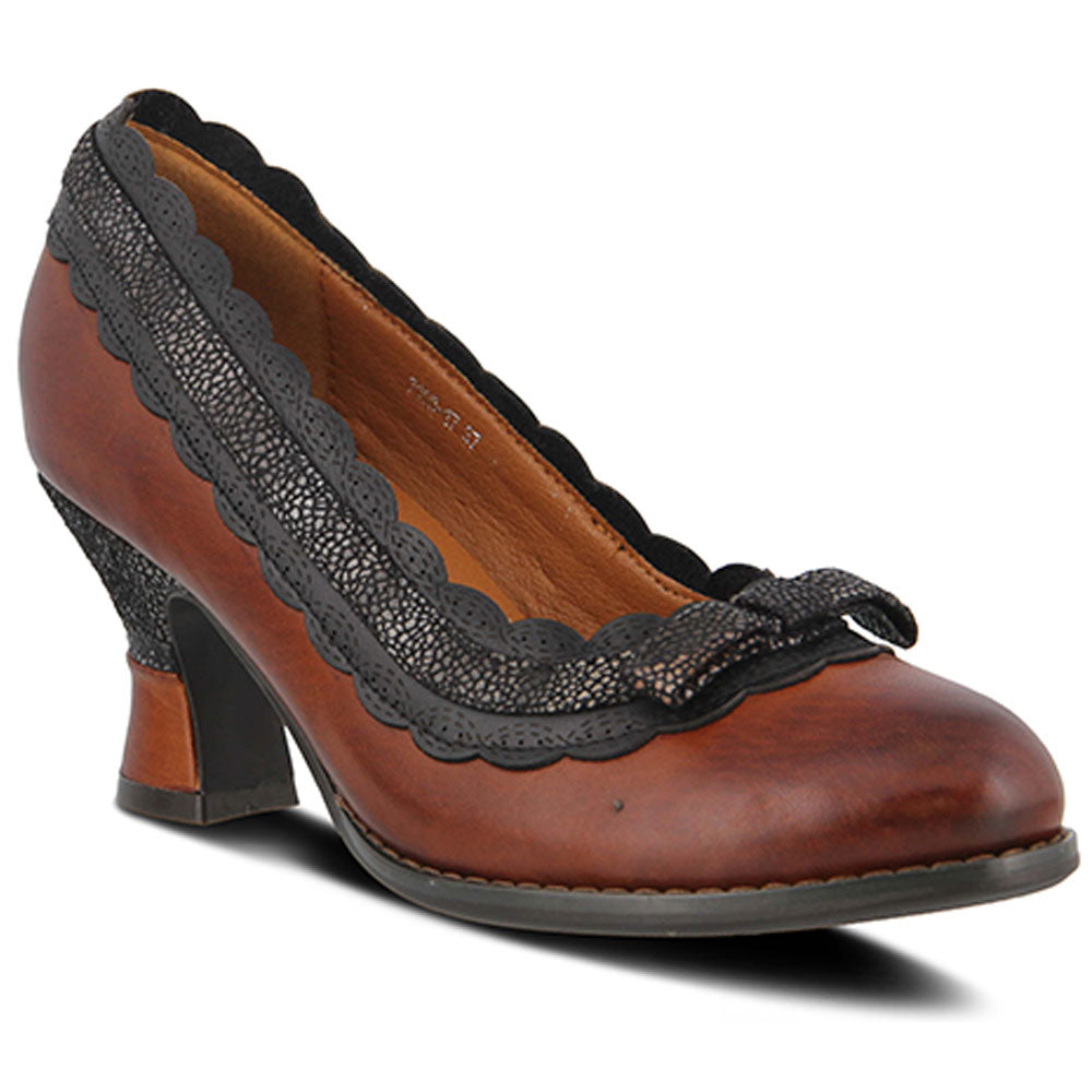 Spring Step Kirstie Heel in Brown Leather at Mar-Lou Shoes