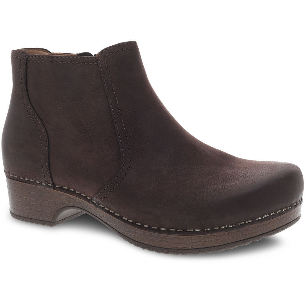 Dansko Barbara Bootie in Chocolate Burnished Nubuck at Mar-Lou Shoes