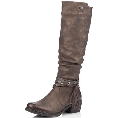 Remonte R1770 Water-Resistant Boot in Brown Leather at Mar-Lou Shoes
