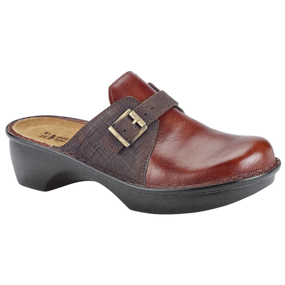 Naot Avignon Clog in Luggage Brown/Mine Brown Leather at Mar-Lou Shoes