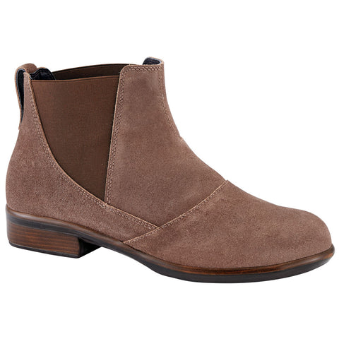 Naot Ruzgar Bootie in Antique Brown Suede at Mar-Lou Shoes