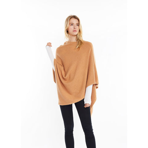 Look by M Basic Cashmere Blend Poncho in Camel at Mar-Lou Shoes