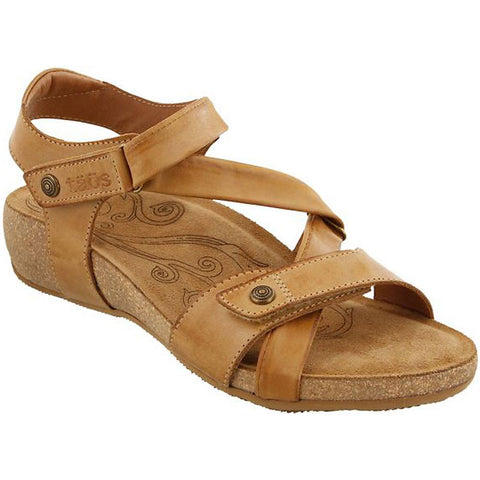 Taos Universe Sandal in Camel Leather at Mar-Lou Shoes