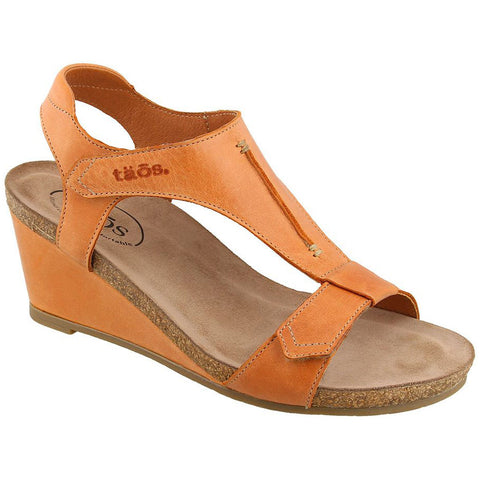 Taos Sheila Wedge Sandal in Cantaloupe Leather at Mar-Lou Shoes