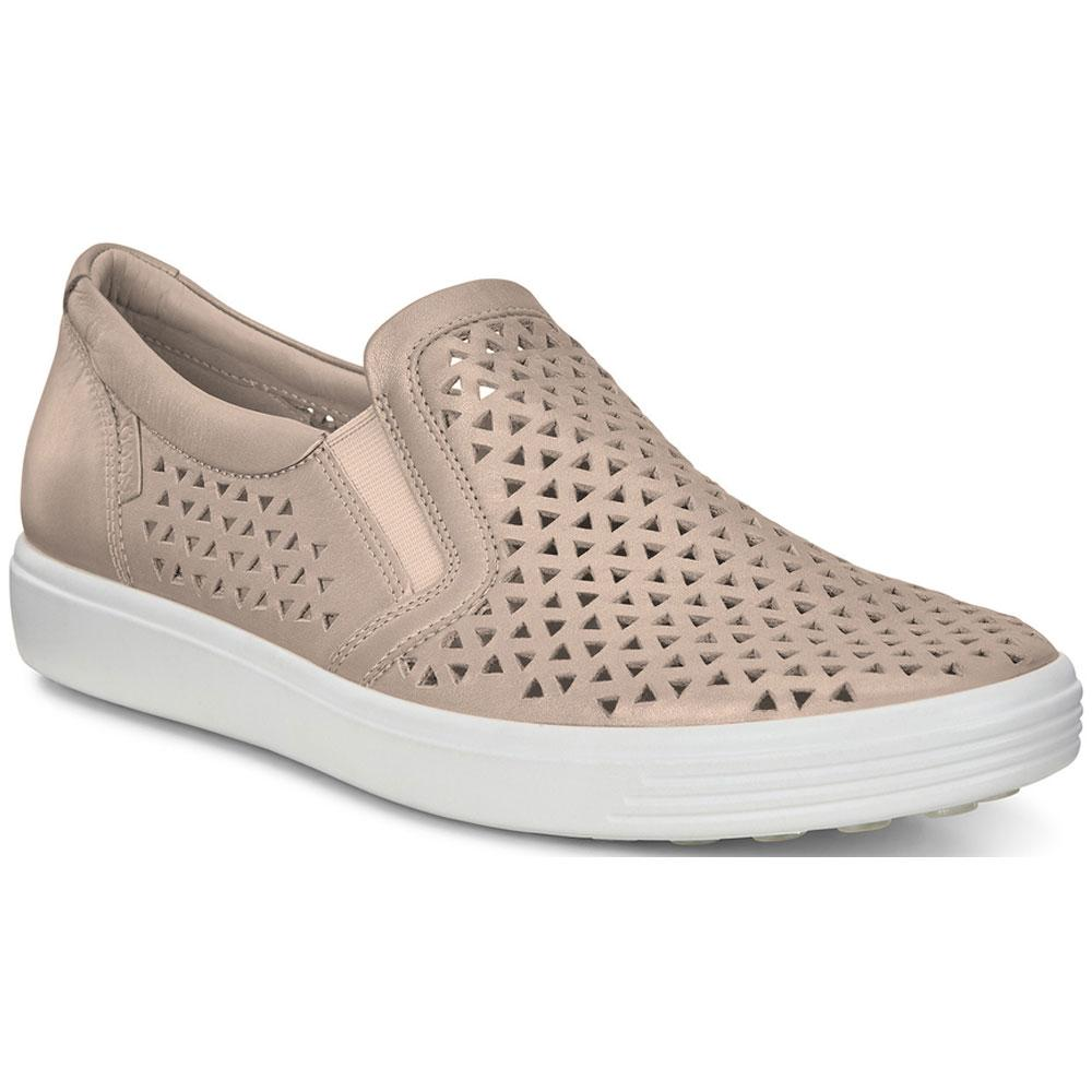 ECCO Women's Soft 7 Laser Slip-On in Champagne Metallic Leather at Mar-Lou Shoes