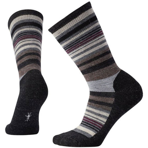 Jovian Stripe Crew Socks in Charcoal Heather
