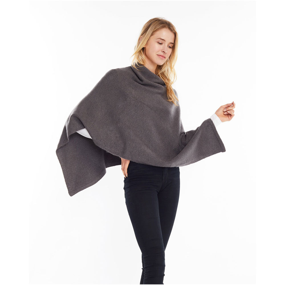 Look by M Basic Cashmere Blend Poncho in Charcoal at Mar-Lou Shoes
